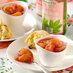 Peach compote with rosewater