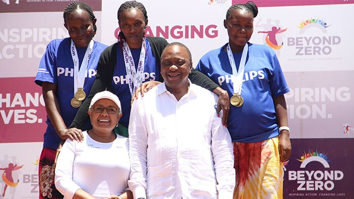 "Pregnant women unite at the ""Beyond Zero Marathon"" to shine the spotlight on preventable maternal and infant deaths in Kenya"